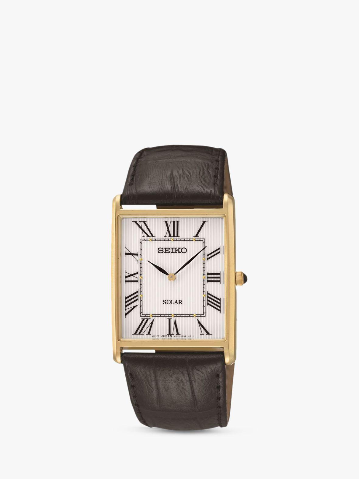 Seiko Seiko SUP880P1 Men's Solar Leather Strap Watch, Black/White