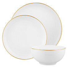 Buy John Lewis Contour Gold Bone China Place Setting, 3 Piece, White / Gold Online at johnlewis.com