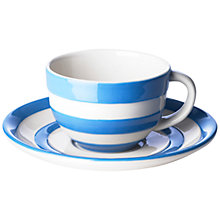 Buy Cornishware Cup and Saucer, Blue/White, 220ml Online at johnlewis.com