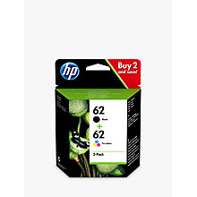 Buy HP 62 Ink Cartridge Black & Tri-Colour Multipack, Pack Of 2 Online at johnlewis.com