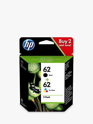 HP 62 Ink Cartridge Black & Tri-Colour Multipack, Pack Of 2