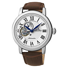 Buy Seiko Men's Mechanical Skeleton Leather Strap Watch Online at johnlewis.com