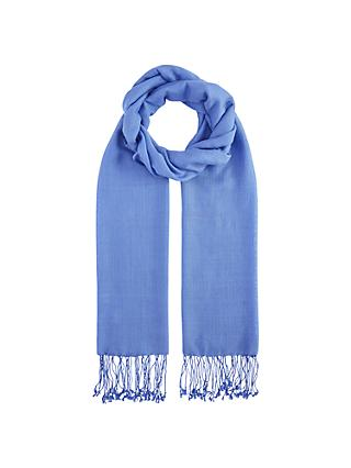 John Lewis & Partners Long Fringe Scarf, Cornflower Blue