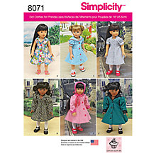 Buy Simplicity Craft Doll Dresses and Coats Sewing Pattern, 8071, OS Online at johnlewis.com