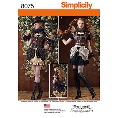 Steampunk Sewing Patterns- Dresses, Coats, Plus Sizes, Men's Patterns Simplicity Womens Steampunk Costume Sewing Pattern 8075 £6.95 AT vintagedancer.com
