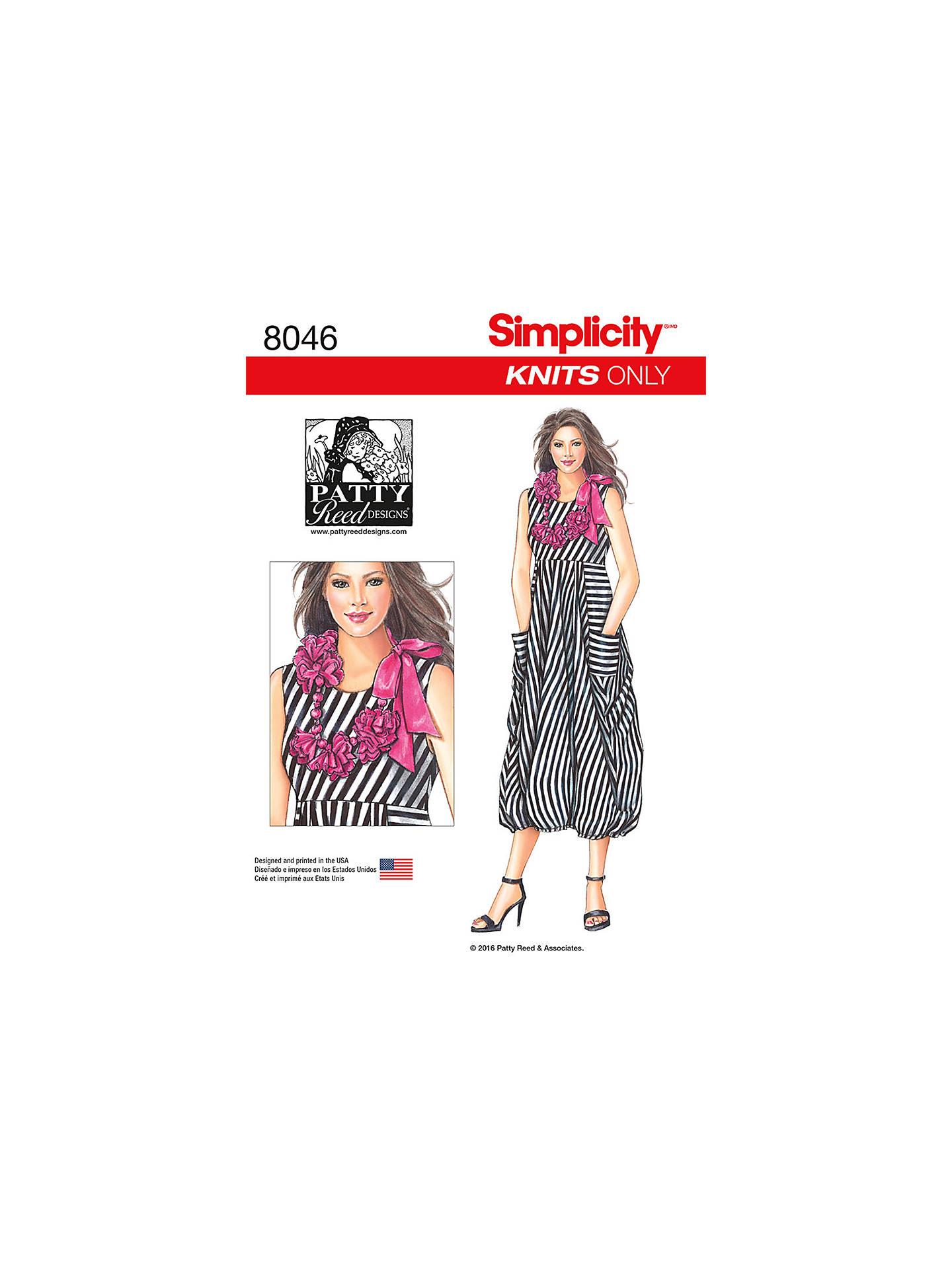 Simplicity Women\'s Knit Dress Sewing Pattern, 8046 at John Lewis ...