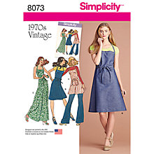 Buy Simplicity Women's Vintage Wrap Apron Dress Sewing Pattern, 8073 Online at johnlewis.com