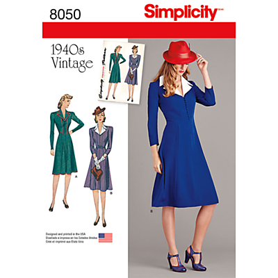 1940s Fabrics and Colors in Fashion Simplicity Womens Vintage Dress Sewing Pattern 8050 £8.95 AT vintagedancer.com