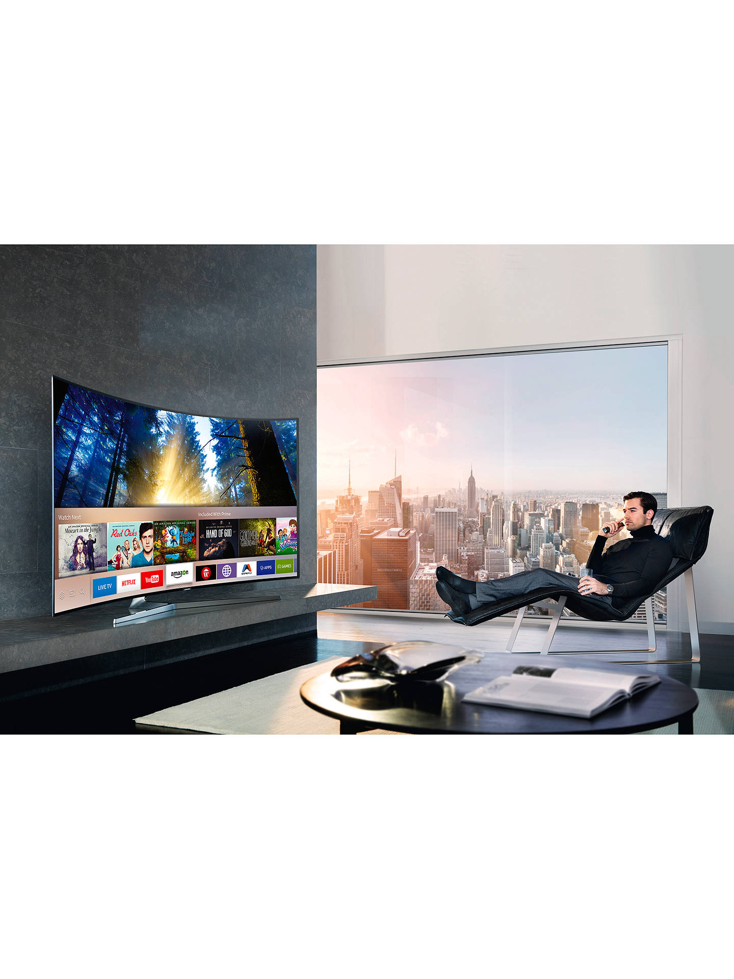 "BuySamsung UE55KS9000 Curved SUHD HDR 1,000 4K Ultra HD Quantum Dot Smart TV, 55"" with Freeview HD/Freesat HD & 360° Design, UHD Premium Online at johnlewis.com"