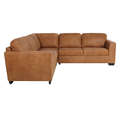 John Lewis Cooper Grand 4 Seater Leather Corner Sofa, Dark Leg