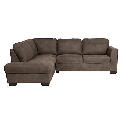 John Lewis Cooper LHF Leather Corner Chaise End Sofa with Dark Legs