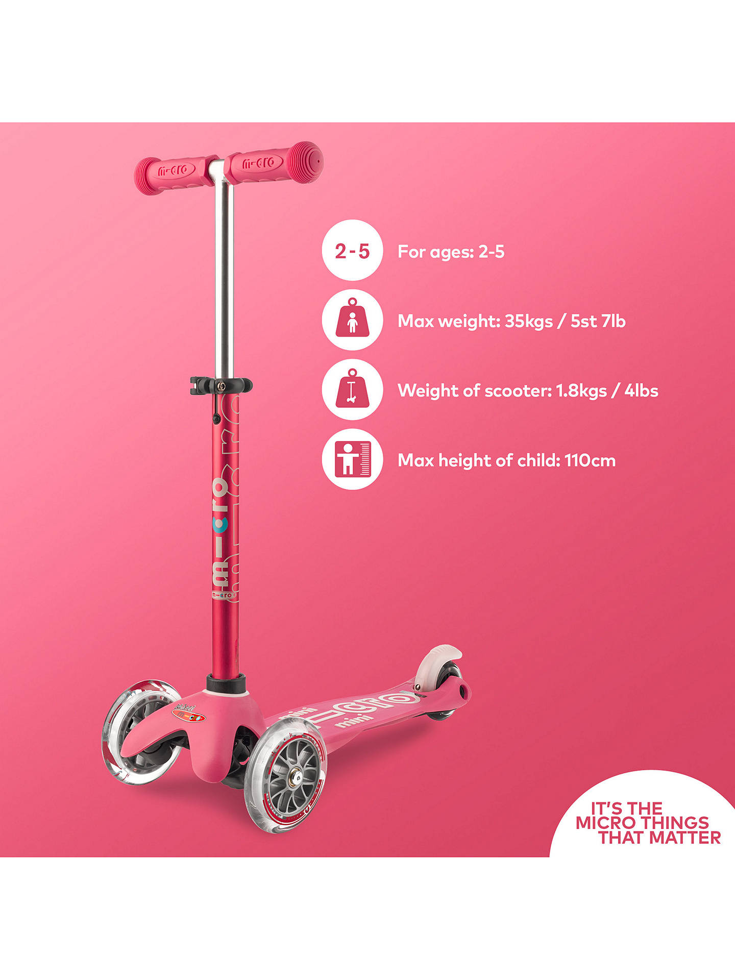 Buy Mini Micro Deluxe Scooter, 2-5 years, Pink Online at johnlewis.com