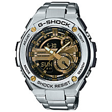 Buy Casio GST-210D-9AER Men's G-Shock Chronograph Day Bracelet Strap Watch, Silver/Gold Online at johnlewis.com