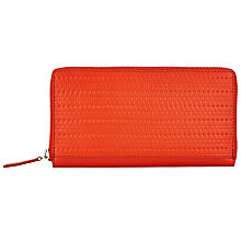 Buy Kin by John Lewis Liv Leather Medium Zip Around Purse, Bright Orange Online at johnlewis.com