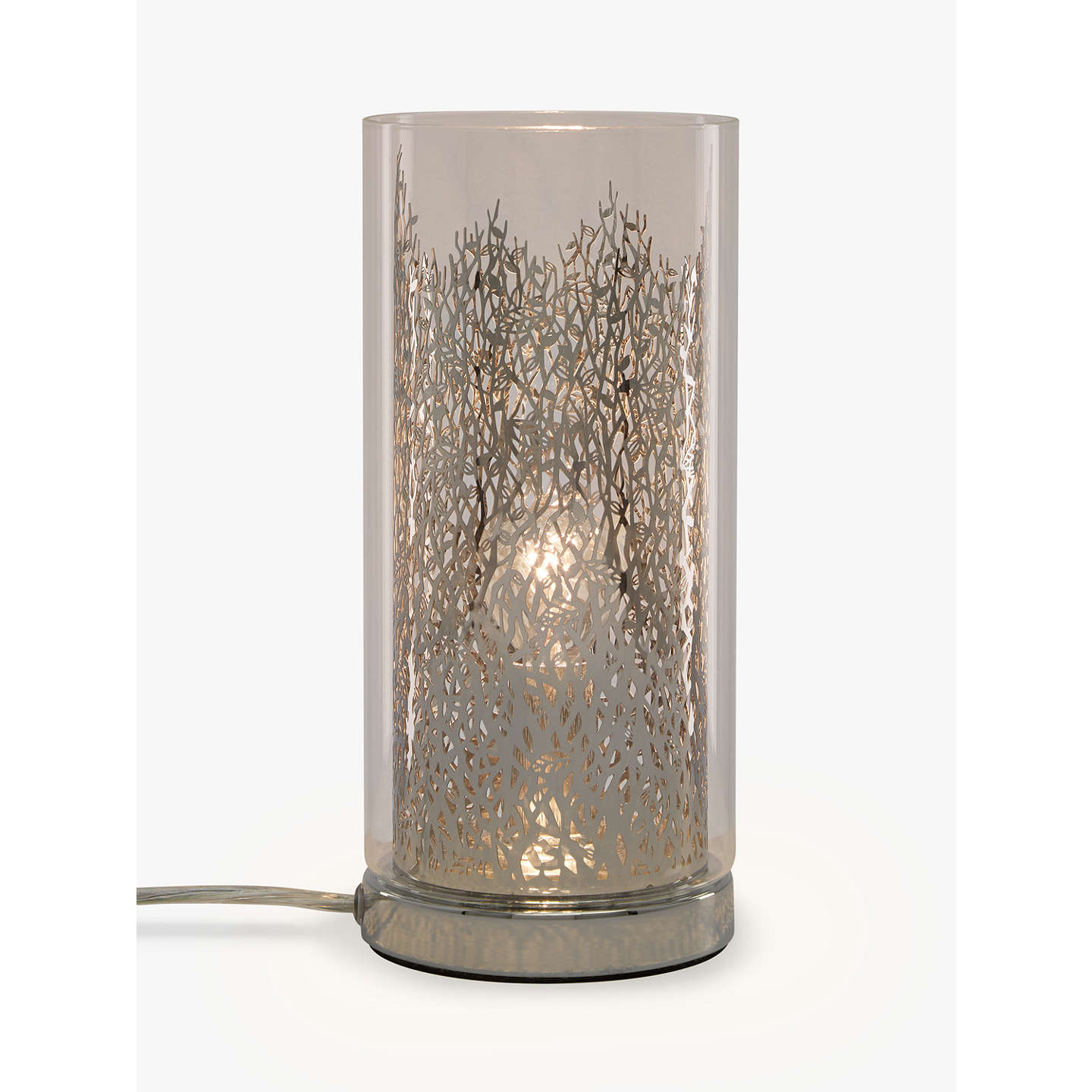 john lewis blakeley clear glass metal touch table lamp clear at