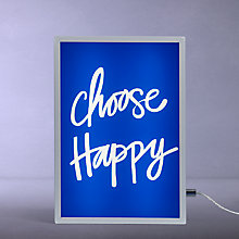 Buy John Lewis Choose Happy Small LED Light Box, Blue Online at johnlewis.com