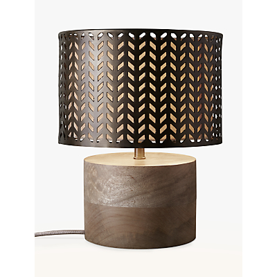 John Lewis Idris Wood and Metal Fret Table Lamp, Bronze
