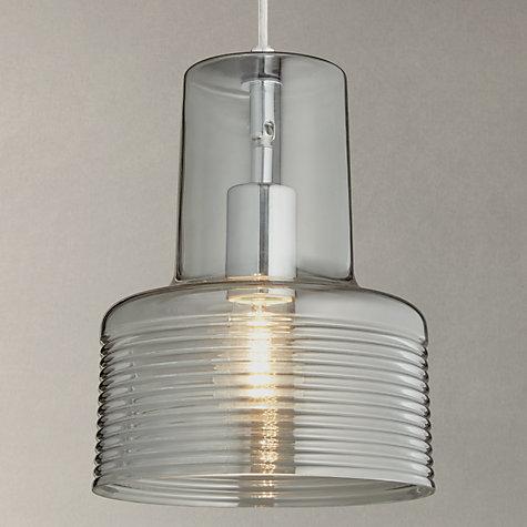 Buy John Lewis Damon Ribbed Glass Pendant Light Smoke