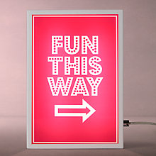 Buy John Lewis Fun This Way Small LED Light Box, Pink Online at johnlewis.com