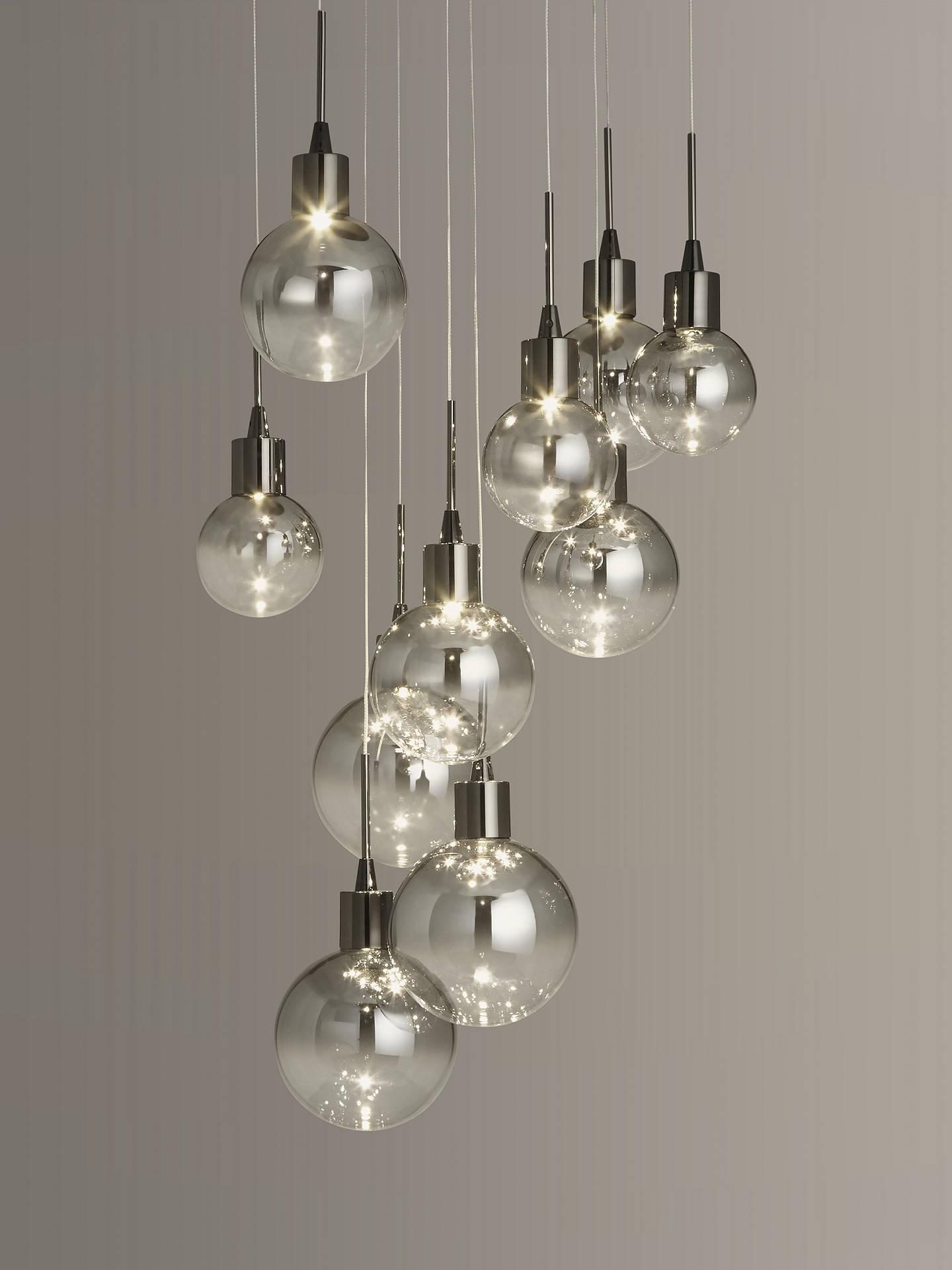 John Lewis & Partners Dano LED Ombre Glass Ceiling Light, 10 Light, Smoke