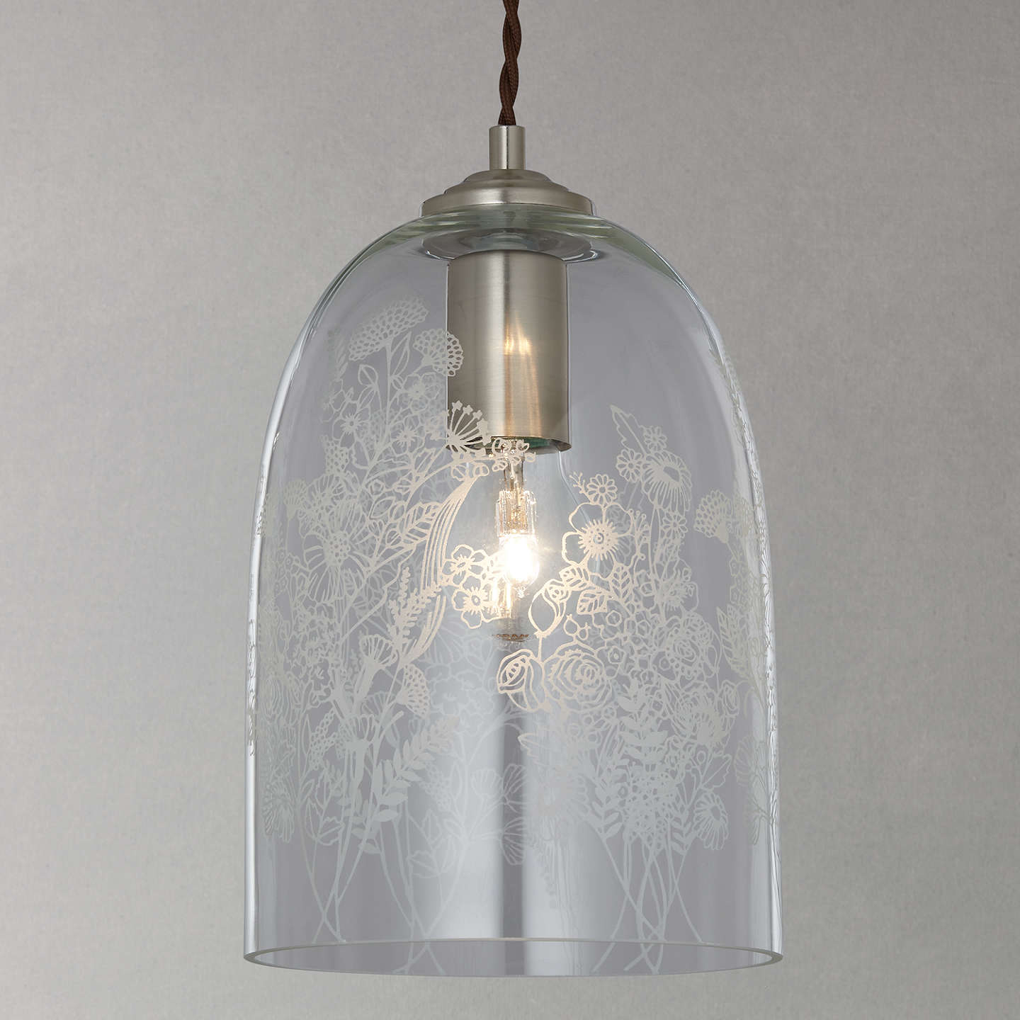 John Lewis Madeline Etched Glass Pendant Ceiling Light Clear At John Lewis