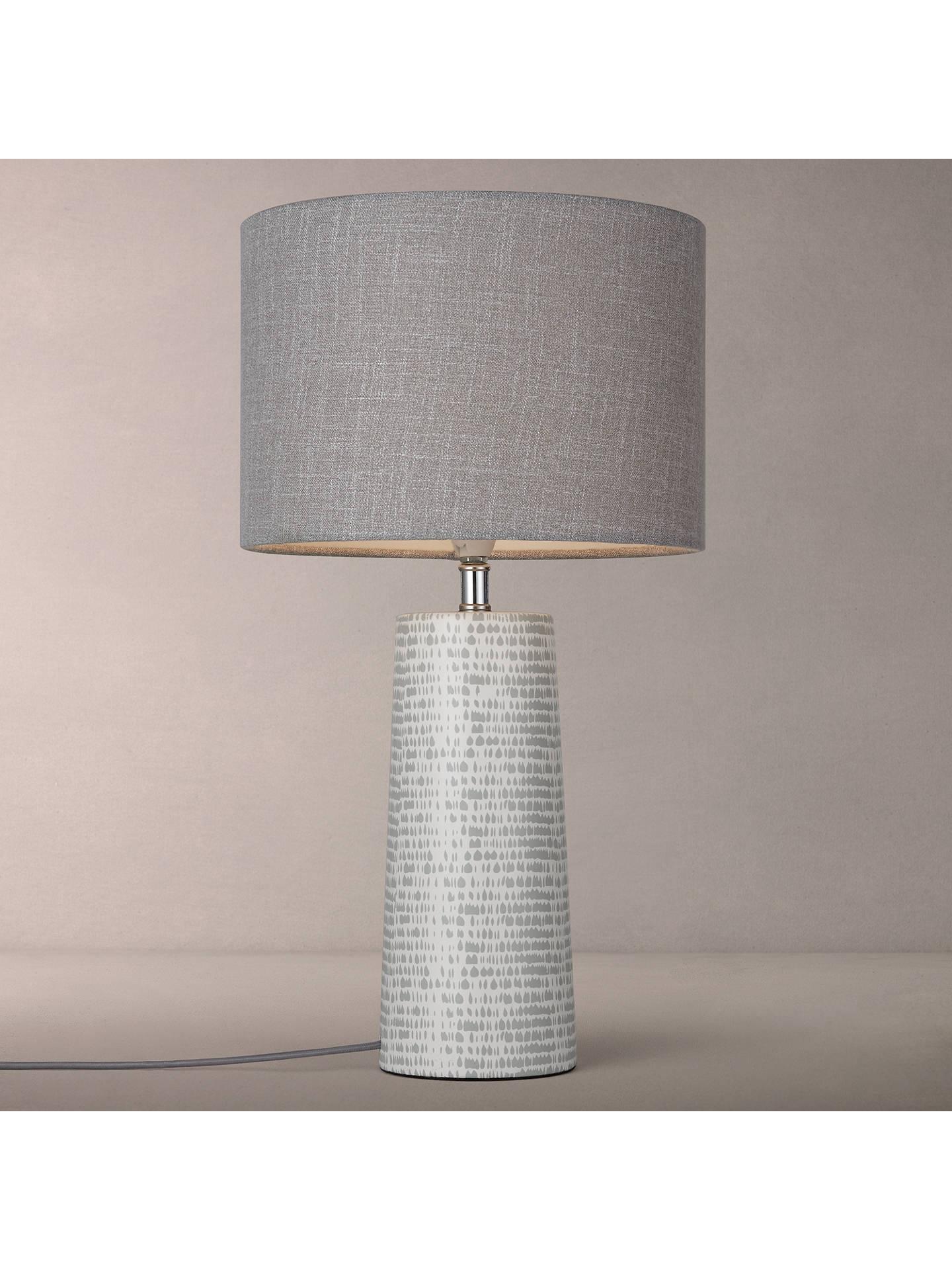 John Lewis Minna Small Ceramic Cylinder Table Lamp Grey At John