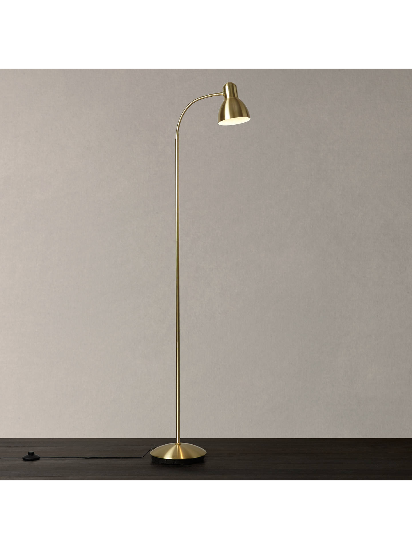 John Lewis Partners Mykki Led Floor Lamp Satin Br Online At Johnlewis