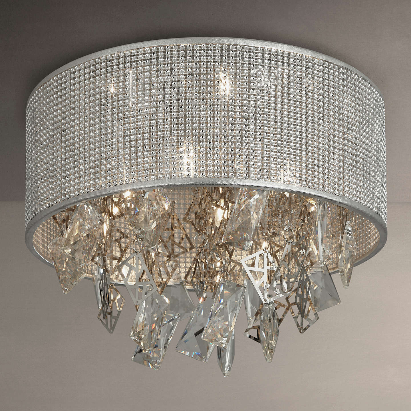 Buyjohn Lewis Tiffany Semi Flush Ceiling Light, Silver Online At