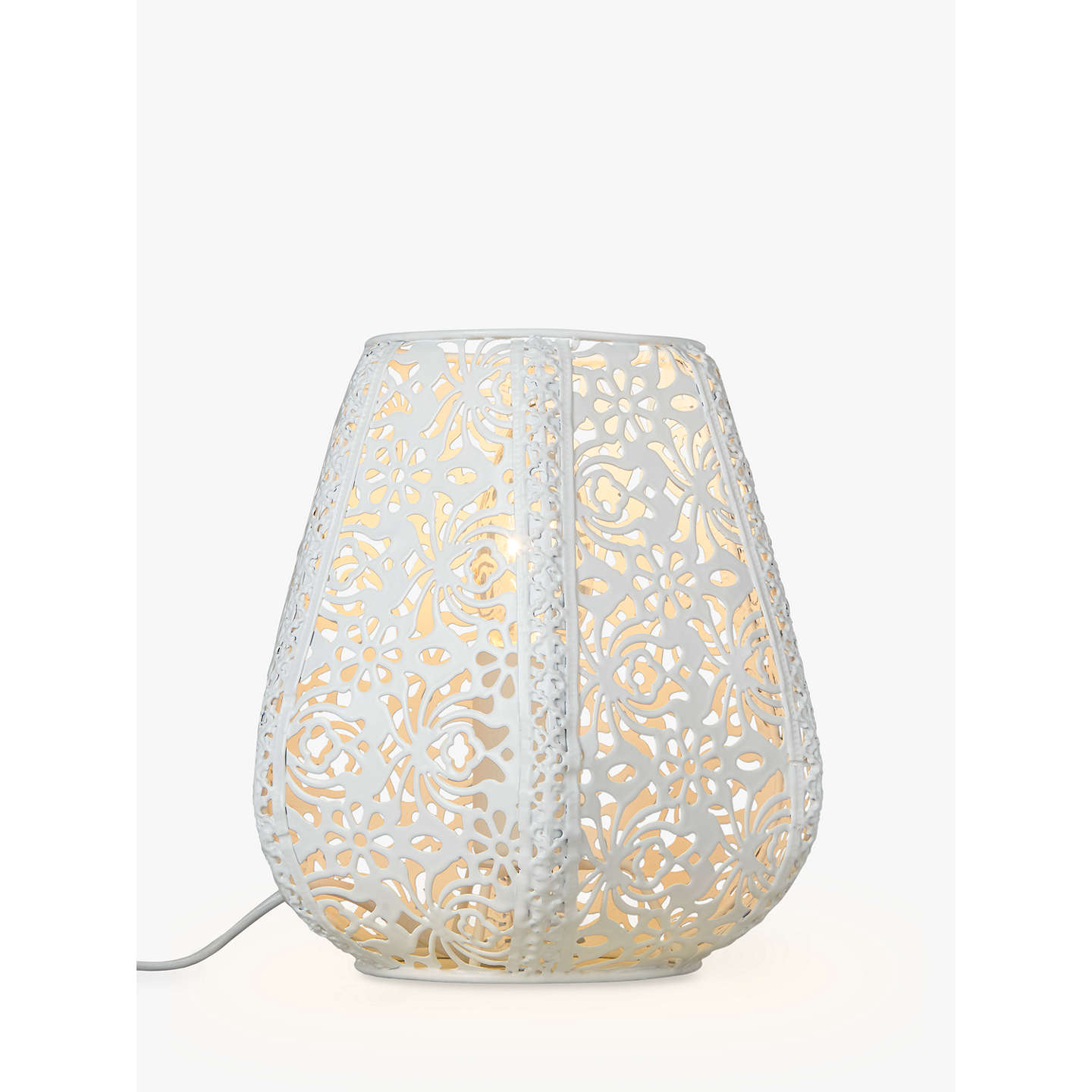 BuyJohn Lewis Rosanna Metal Fretwork Table Lamp, White Online at johnlewis.com