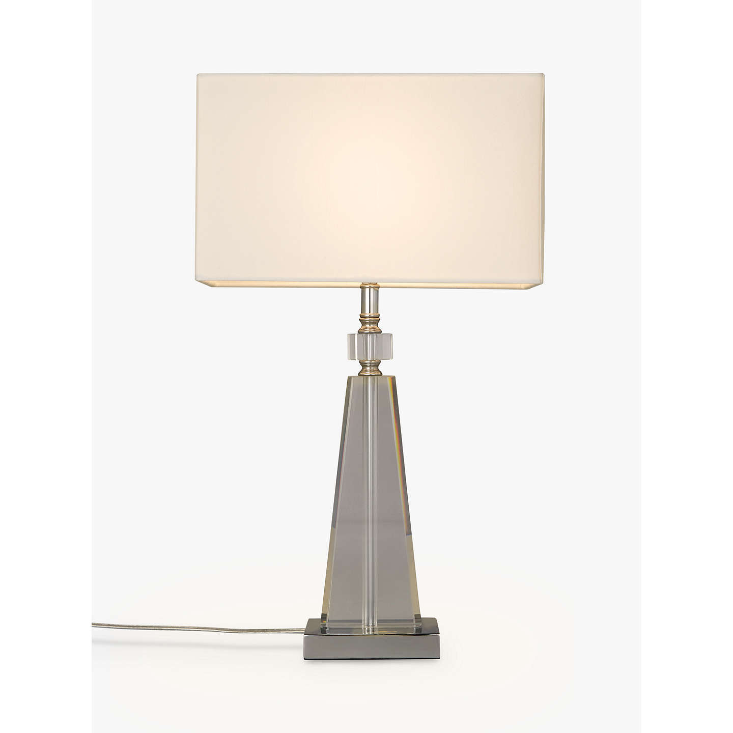 john lewis trisha triangle glass table lamp clear at john lewis