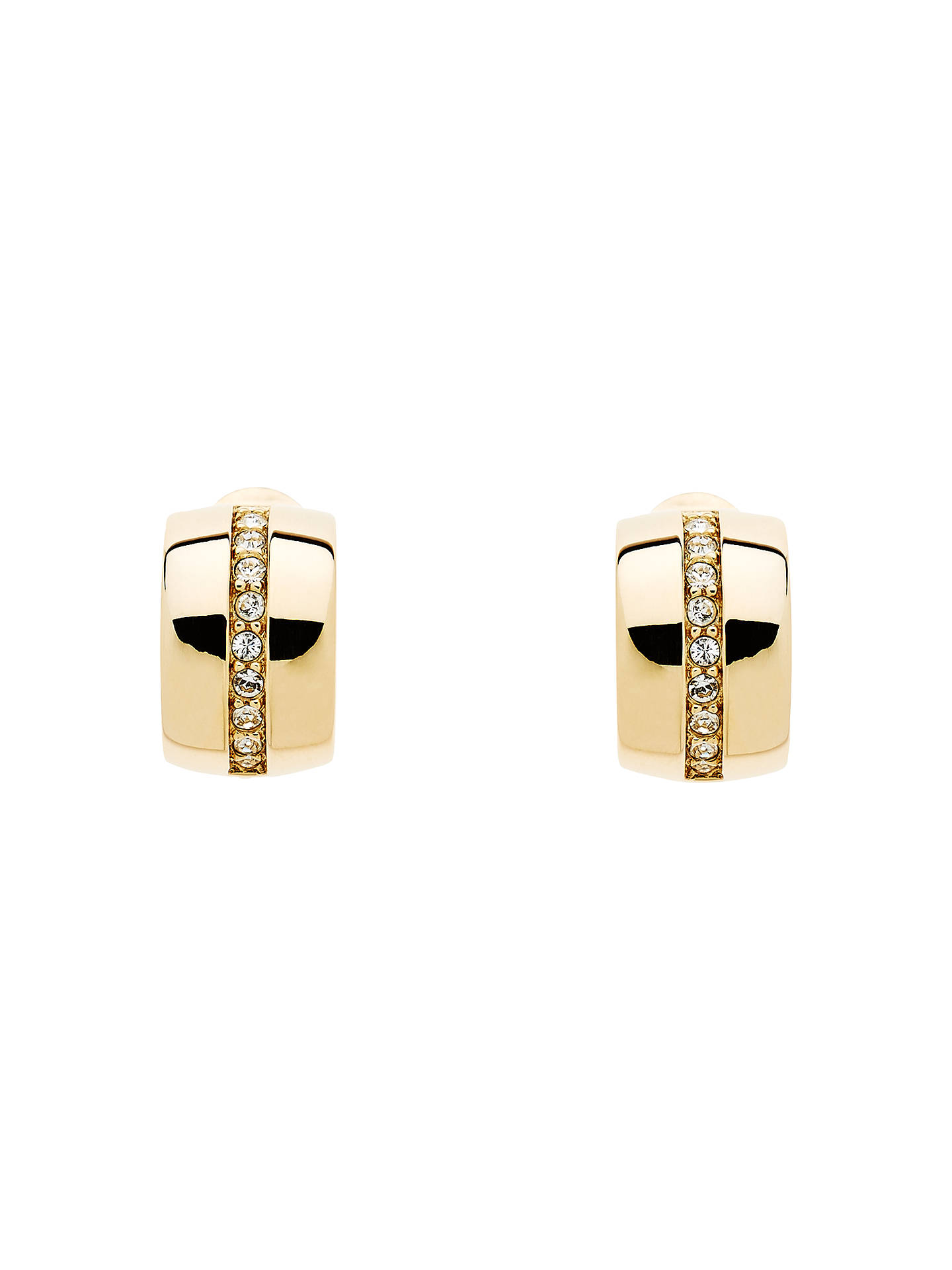 Monet Swarovski Crystal Half Hoop Clip On Earrings Gold Online At Johnlewis