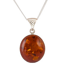 Buy Be-Jewelled Amber Pendant Necklace, Cognac Online at johnlewis.com