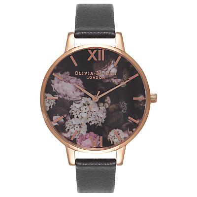 Olivia Burton OB15WG12 Women's Winter Garden Leather Strap Watch, Black/Floral