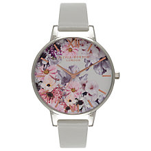 Buy Olivia Burton OB15FS76 Women's Enchanted Garden Leather Strap Watch, Dove Grey/Multi Online at johnlewis.com