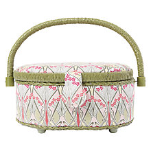Buy Liberty Ianthe Tana Lawn Small Oval Sewing Box, Green Online at johnlewis.com