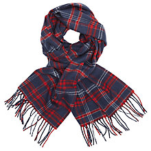 Buy John Lewis Richmond Cashmink Check Scarf, Blue/Red Online at johnlewis.com