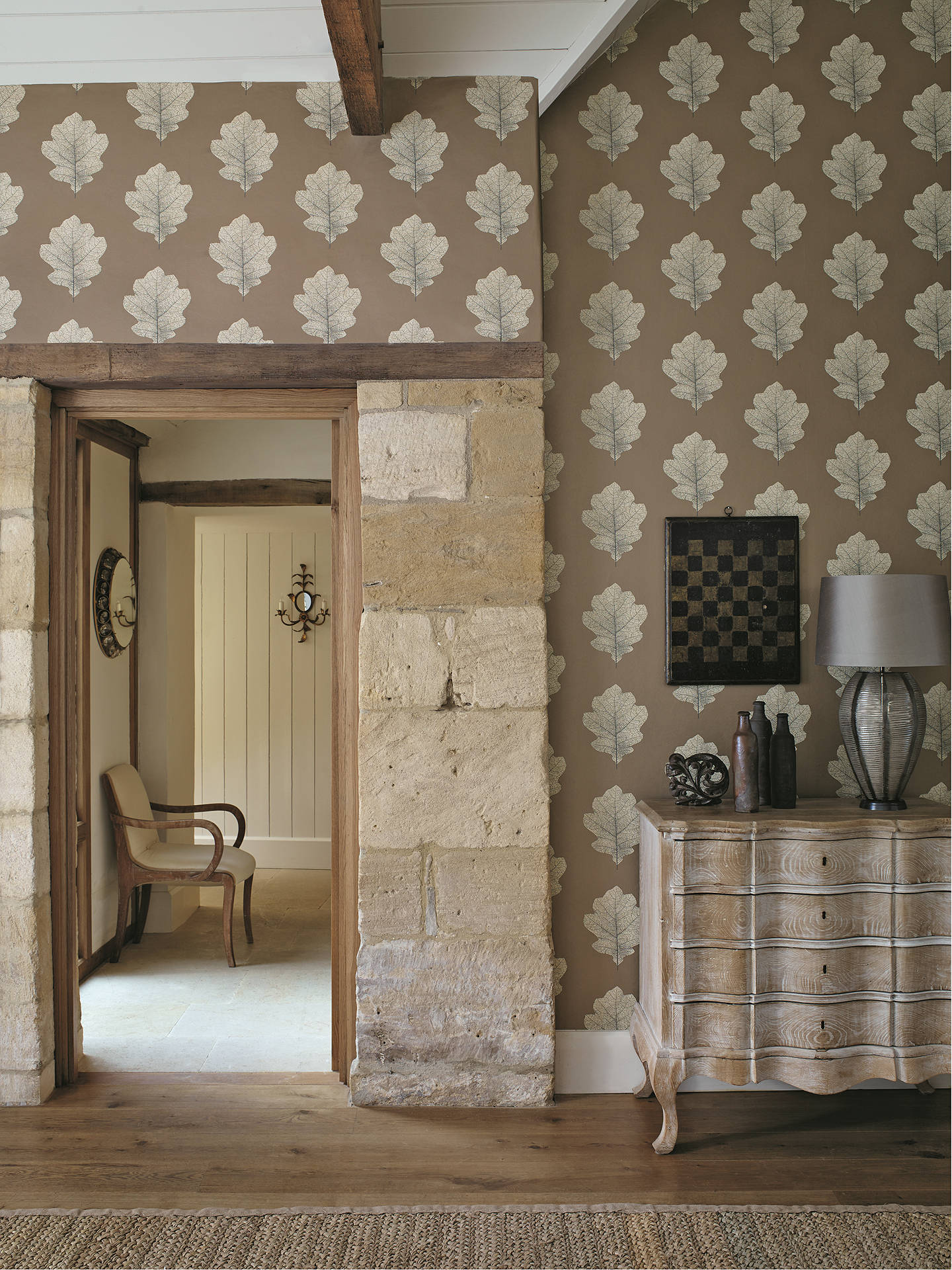 Buy Sanderson Oak Filigree Wallpaper, Copper / Graphite DWOW215701 Online at johnlewis.com