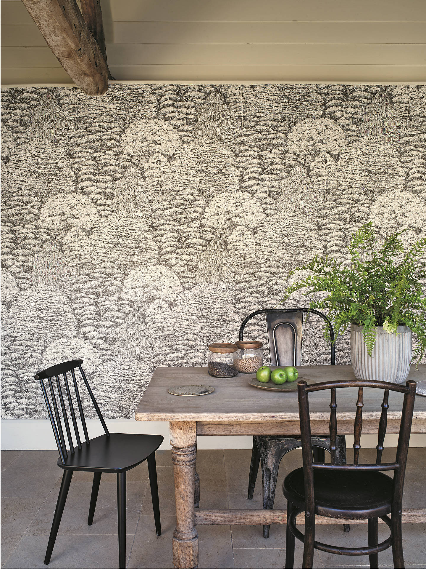 Buy Sanderson Woodland Toile Wallpaper, Ivory / Charcoal DWOW215716 Online at johnlewis.com