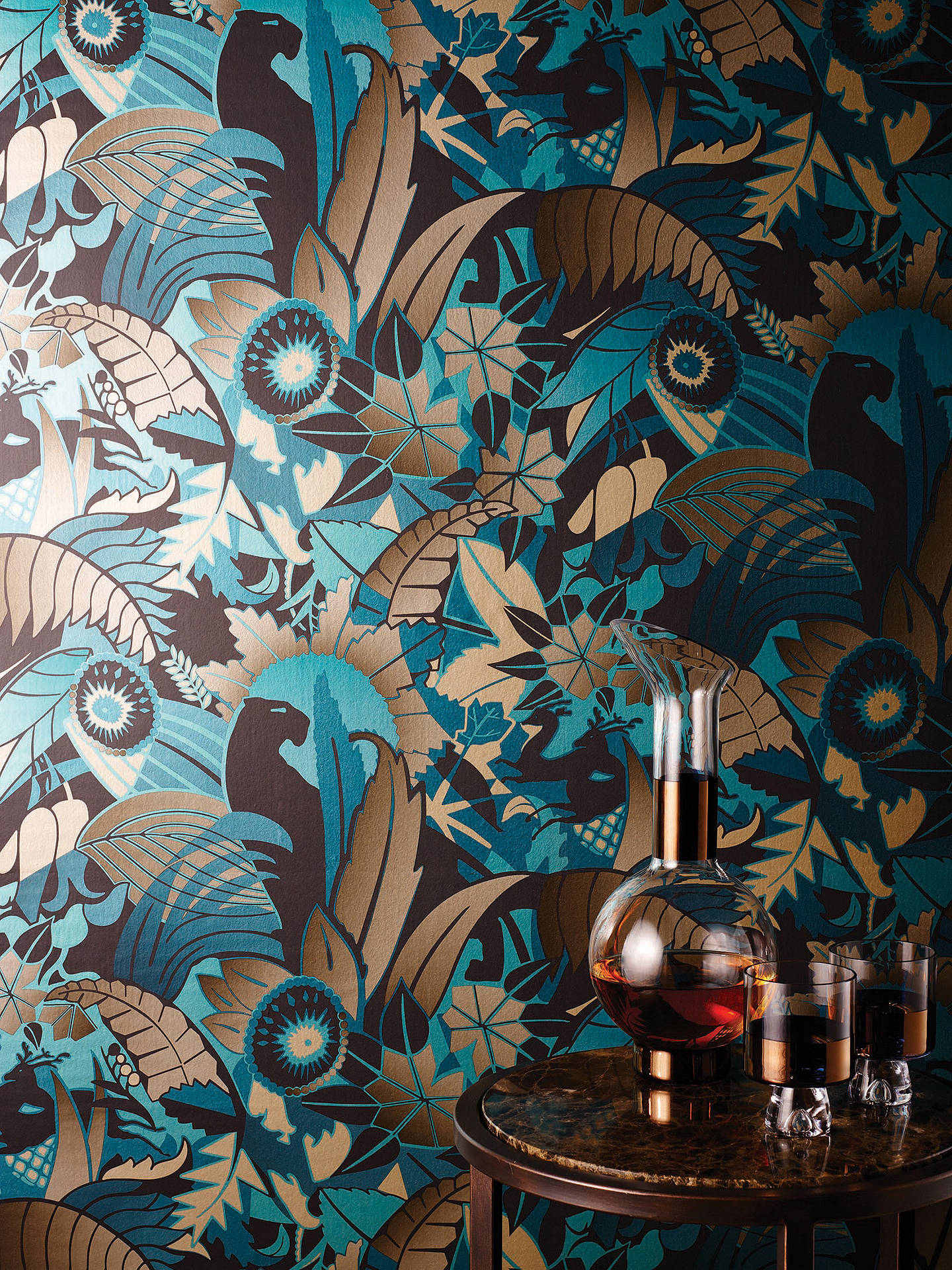 Buy Osborne & Little Fantasque Wallpaper, Turquoise W6890-01 Online at johnlewis.com