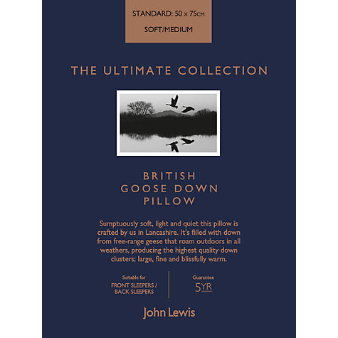 Buy John Lewis The Ultimate Collection British Goose Down Standard Pillow, Soft/Medium Online at johnlewis.com