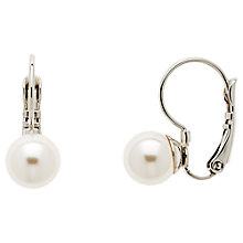Buy Finesse Pearl Leverback Drop Earrings, Silver/White Online at johnlewis.com