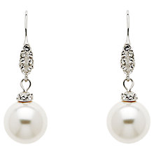 Buy Finesse Swarovski Crystal and Pearl Wire Drop Earrings, Silver/White Online at johnlewis.com