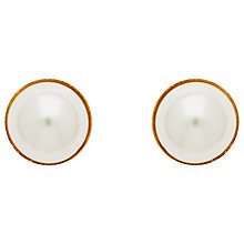 Buy Finesse Half Glass Pearl Stud Earrings, White Online at johnlewis.com