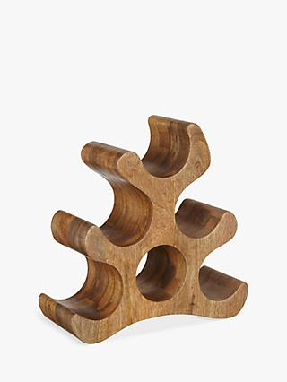 John Lewis & Partners Wine Rack, 6 Bottle, Mango Wood