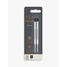 Buy Parker Quink Ballpoint Pen Medium Gel Refill, Set of 2, Black Online at johnlewis.com