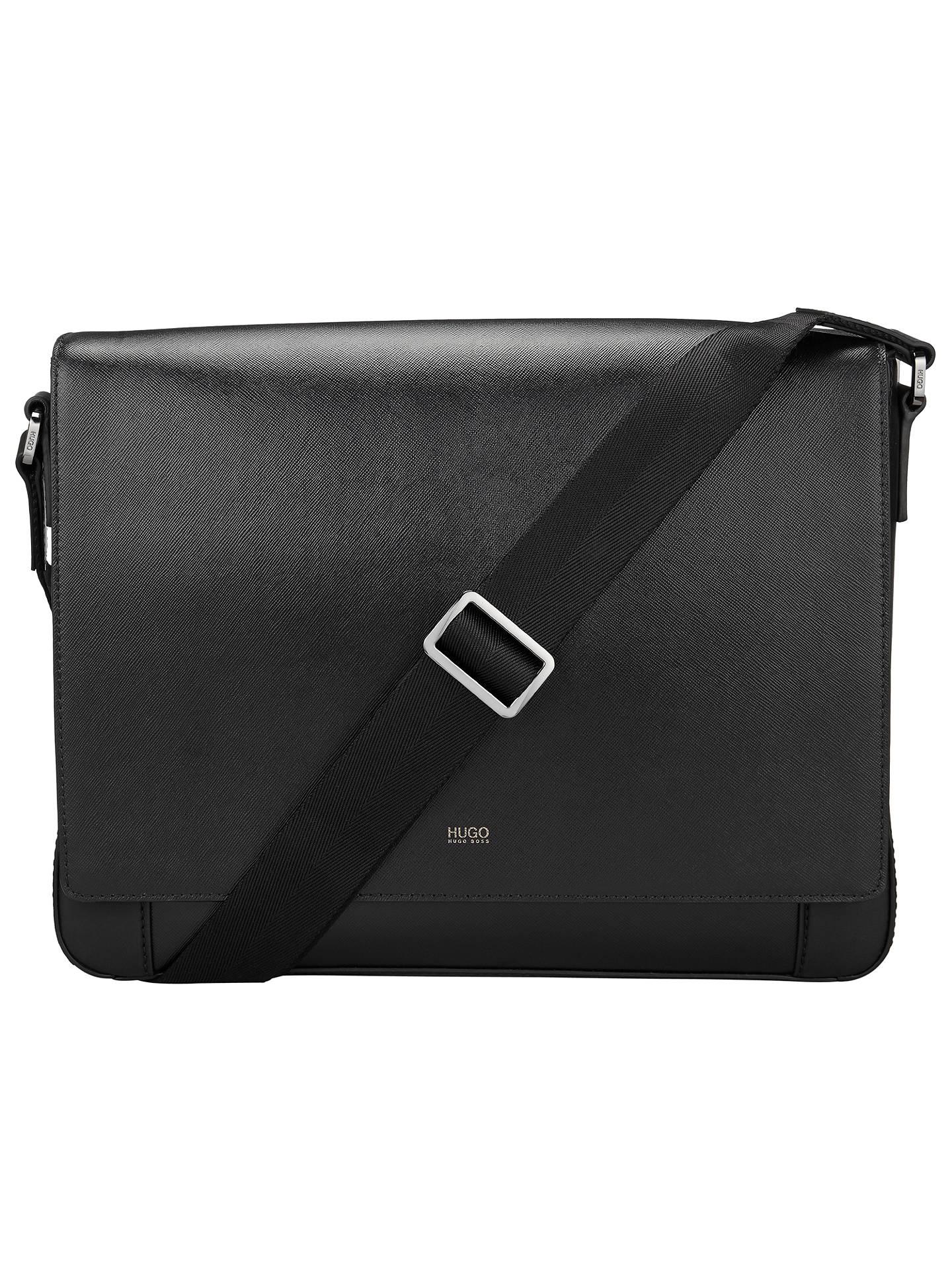 69cf5d7b93c Buy HUGO by Hugo Boss Digital Leather Messenger Bag, Black Online at  johnlewis.com ...