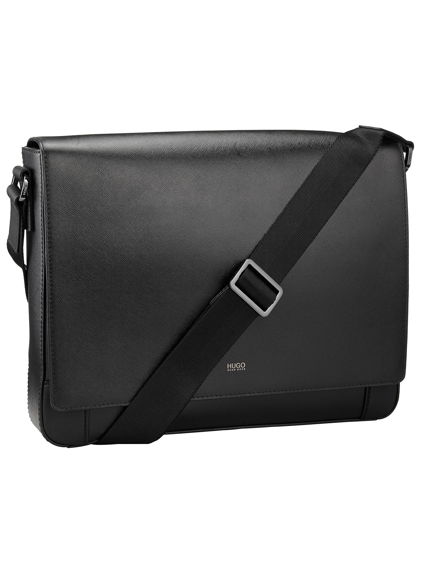 2411eb7680e ... Buy HUGO by Hugo Boss Digital Leather Messenger Bag, Black Online at  johnlewis.com ...