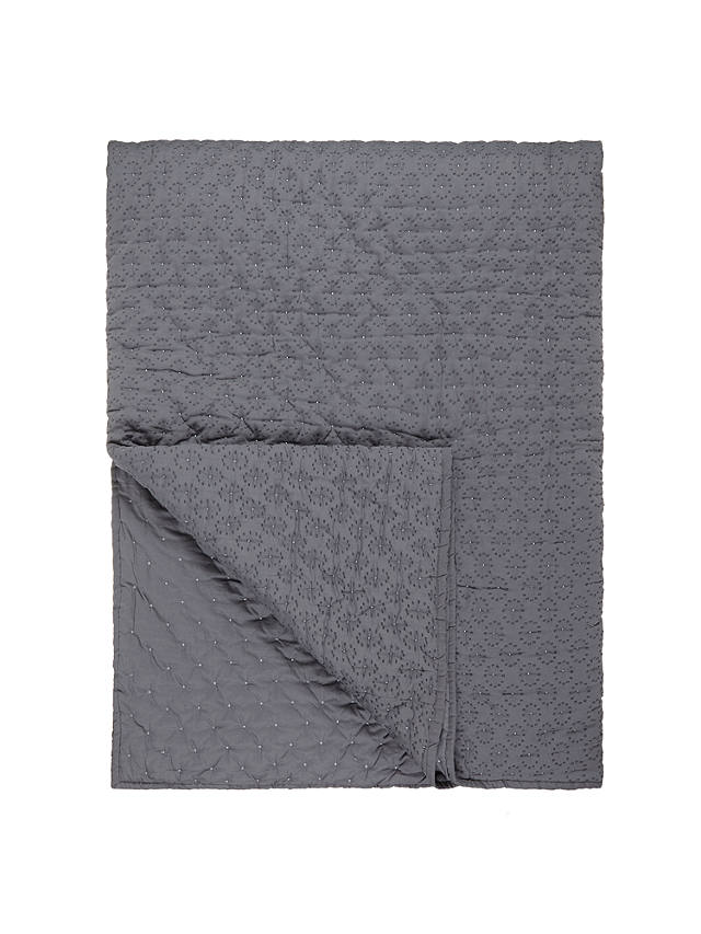 Buy John Lewis Croft Collection Dots Quilted Throw, Steel Online at johnlewis.com