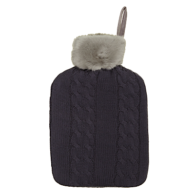 John Lewis Cable Knit & Faux Fur Hot Water Bottle and Cover