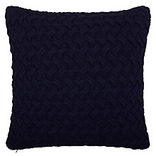 Buy John Lewis Croft Collection Knitted Waves Cushion, Navy Online at johnlewis.com